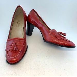 Talbot's Fringe Tassel Stacked Heel Loafers Pumps